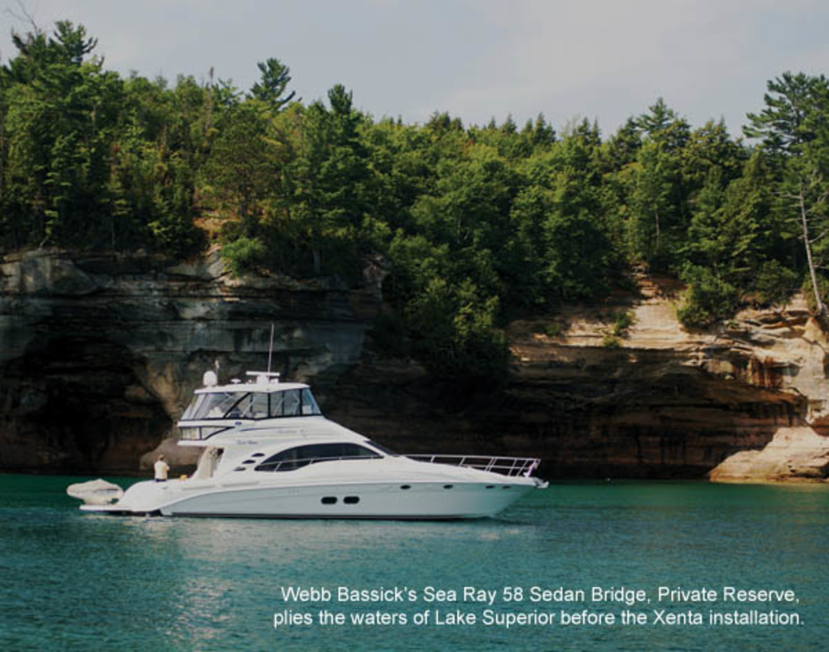 Webb Bassick's Sea Ray 58 Sedan Bridge, Private Reserve, plies the waters of Lake Superior before the Xenta installation.