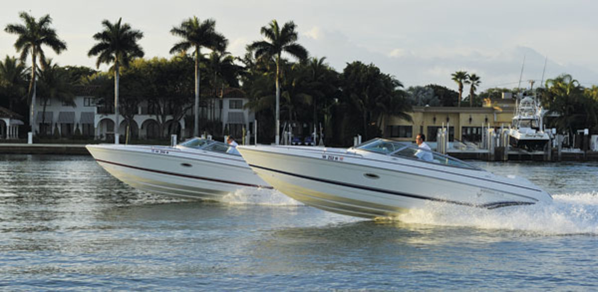 Two Formula boats test Volvo's V-8s.