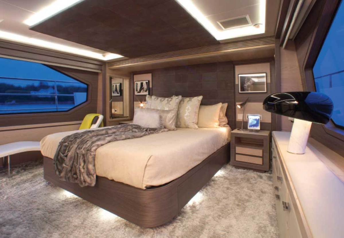 Form and function blend effortlessly in the master stateroom