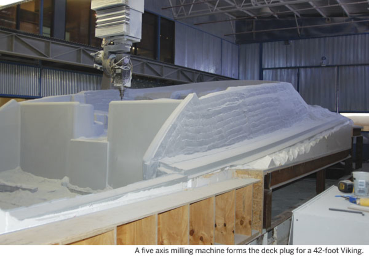 A five axis milling machine forms the deck plug for a 42-foot Viking.