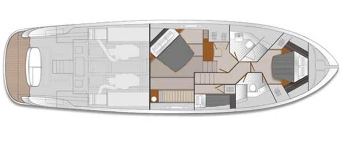 Maritimo M58 Accomodations layout digram