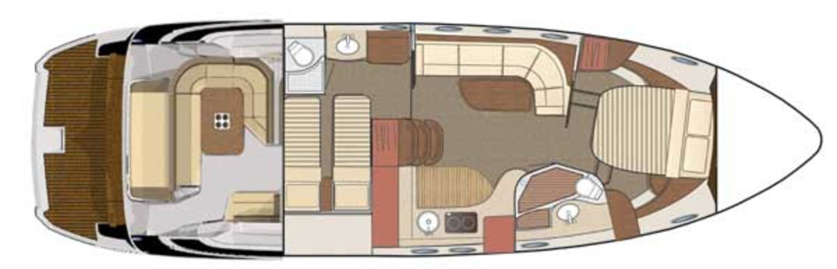 Regal 46 Sport Coup - lower deck layout diagram
