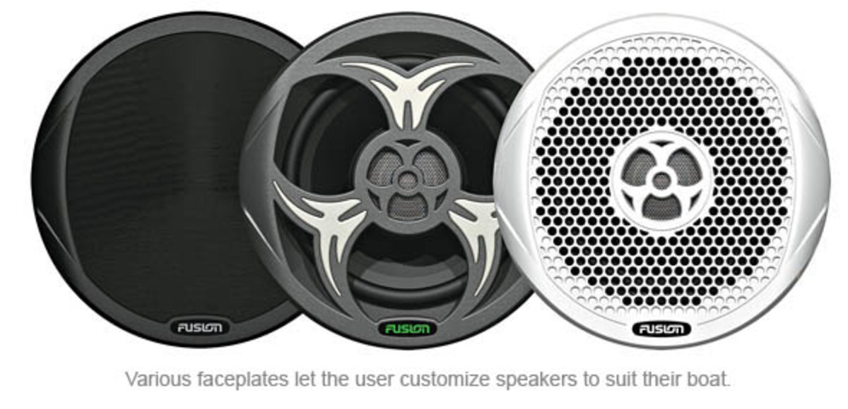 Various faceplates let the user customize speakers to suit their boat.