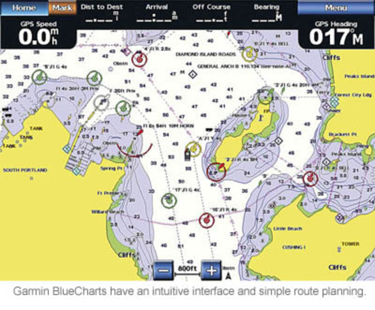 Garmin BlueCharts have an intuitive interface and simple route planning.