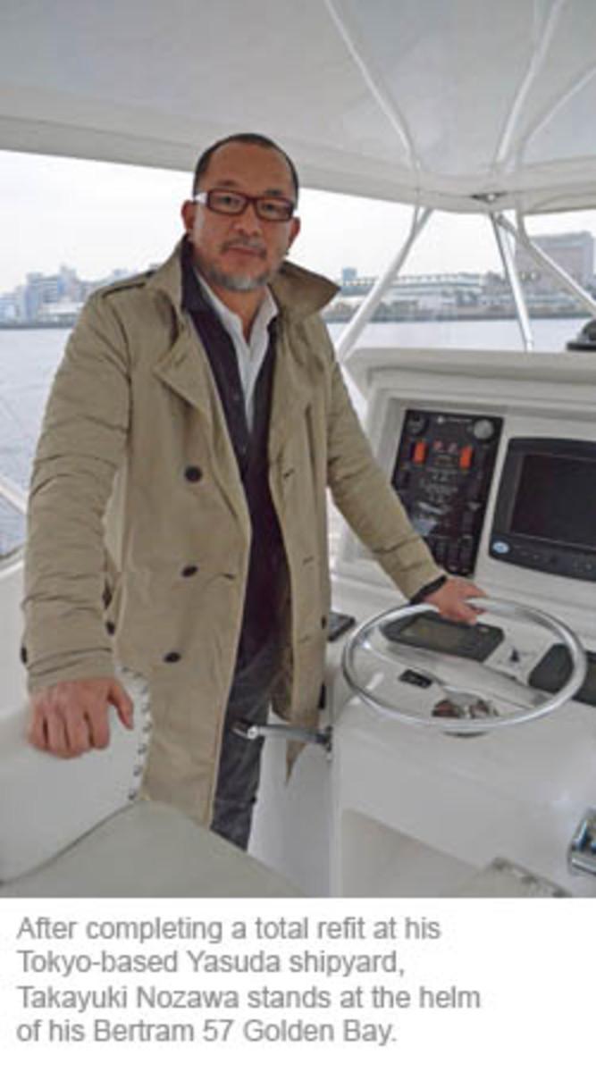 Takayuki Nozawa stands at the helm of his Bertram 57