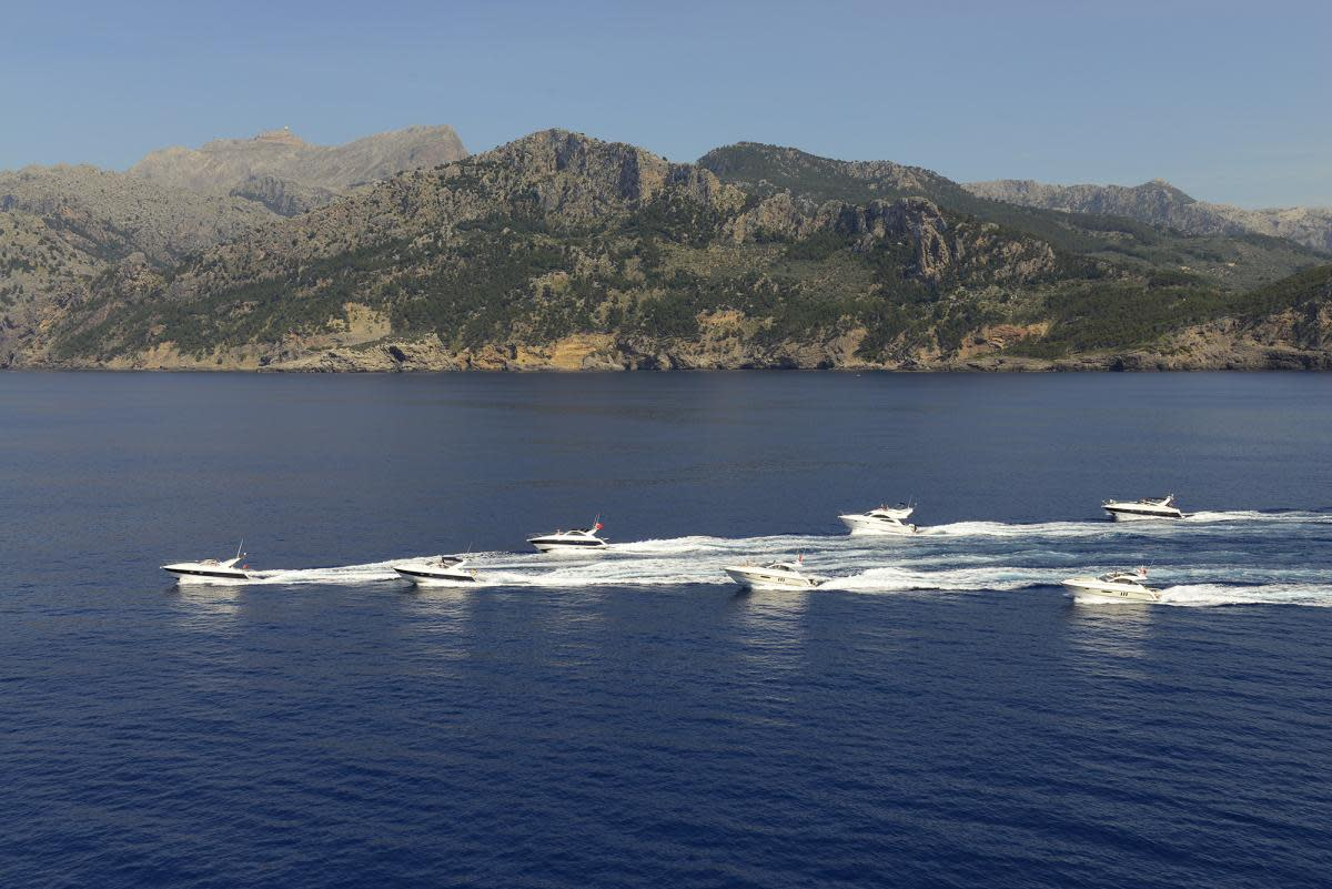 Fairline boats in formation
