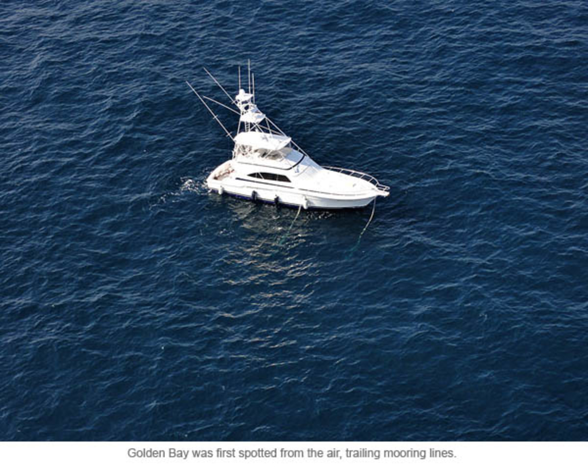 Golden Bay was first spotted from the air, trailing mooring lines.