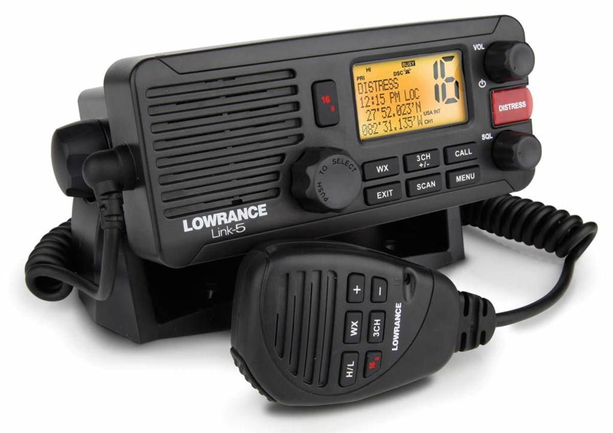 The Lowrance Link-5 is a 25-watt DSC-enabled VHF radio. Built on a robust chassis, the Link-5 is housed in a rubber-molded case rated to IPX7—that means it can be immersed in water for up to 30 minutes to a depth of 39 inches.