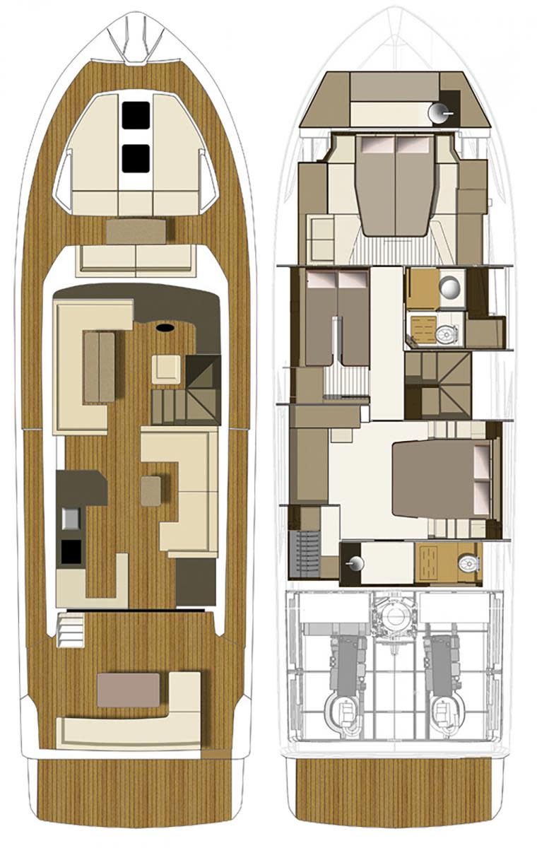 Cranchi Eco Trawler 53 LD layout diagram