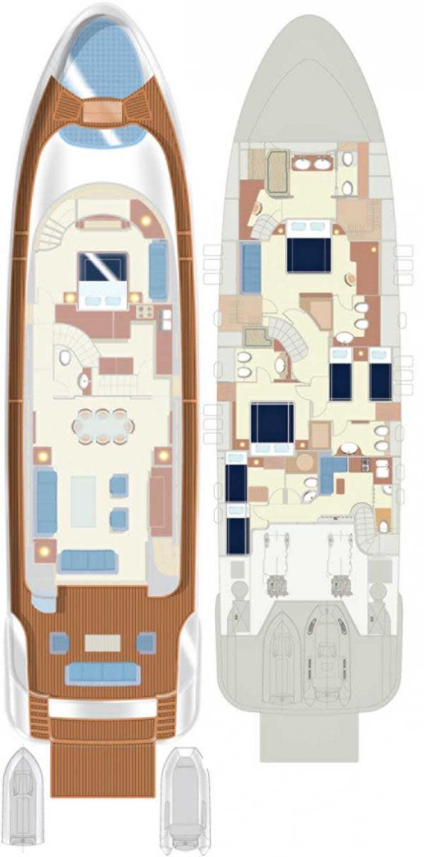 Filippetti Navetta 26 Upper and Lower Decks layout diagrams