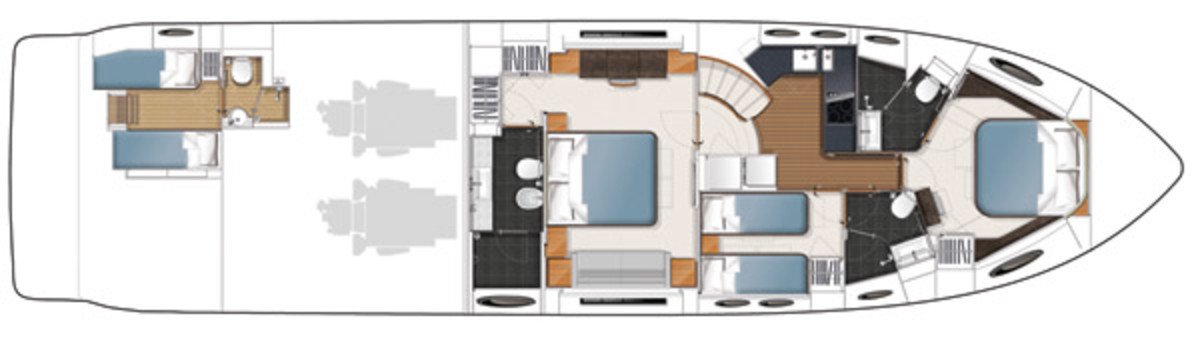 Princess V72 layout diagram - lower deck