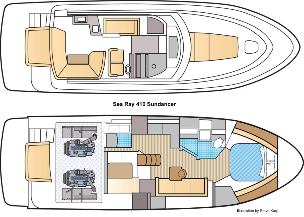 Sea Ray 410 Sundancer Layout Illustration by Steve Karp