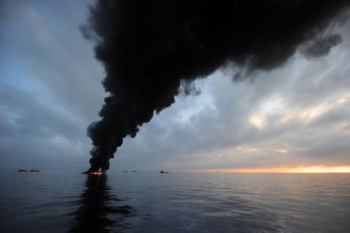 Black smoke clouds billow from a controlled burning of oil in the Gulf of Mexico, May 7, 2010. Photograph taken by Mass Communication Specialist, 2nd Class Justin Stumberg.