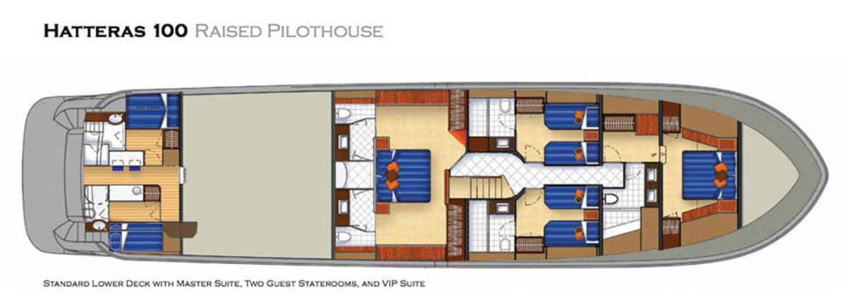 Hatteras 100 Raised Pilothouse - standard lower-deck layout