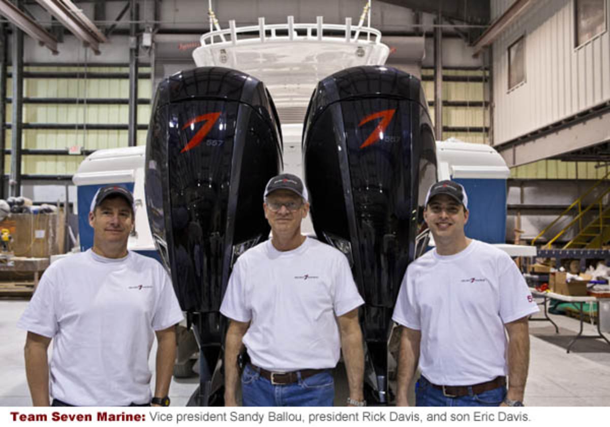 Team Seven Marine: Vice president Sandy Ballou, president Rick Davis, and son Eric Davis.