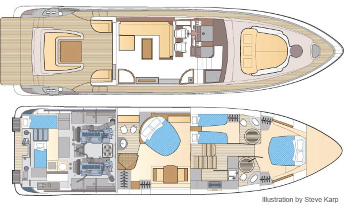 Azimut 62S Italia layout diagram, illustration by Steve Karp