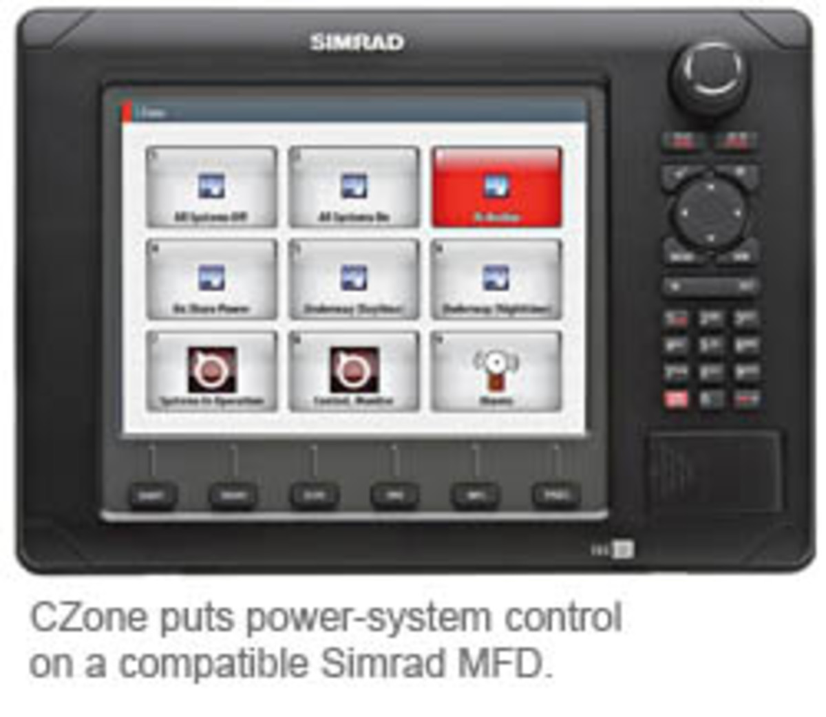 CZone puts power-system control on a compatible Simrad MFD.