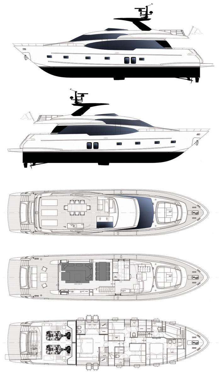 Sanlorenzo SL78 layout diagram