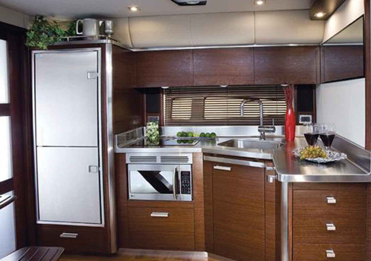 Boat galley with full-sized refrigerator