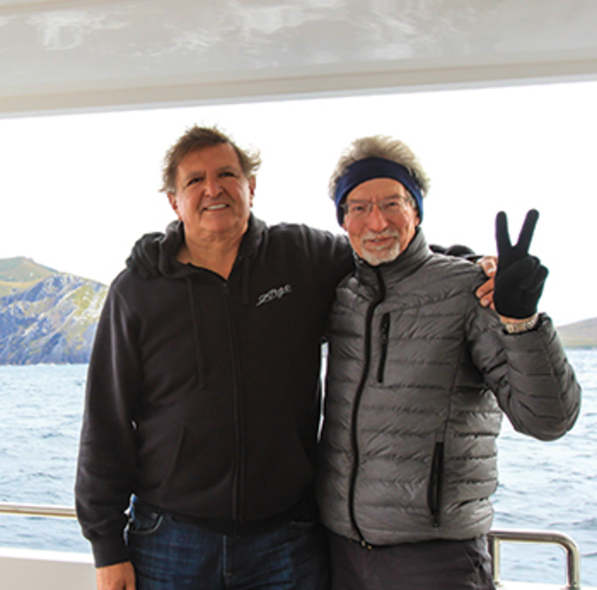 Argo's owner, Paul Hawran, left, and his brother-in-law, photographer Andrew Ulitsky, share a moment on their voyage around the Horn.