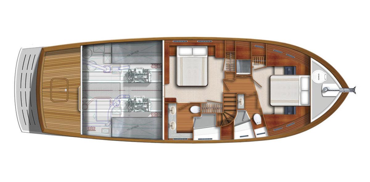 Kadey-Krogen 50 Open - Quarterdeck - 2 stateroom arrangement