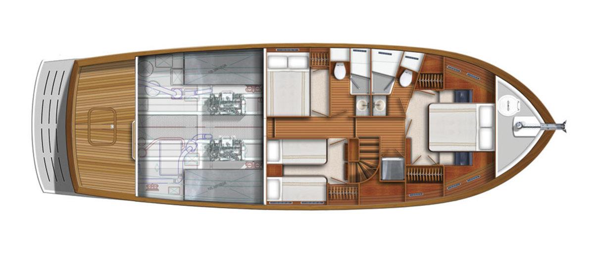Kadey-Krogen 50 Open - Quarterdeck - 3 stateroom arrangement