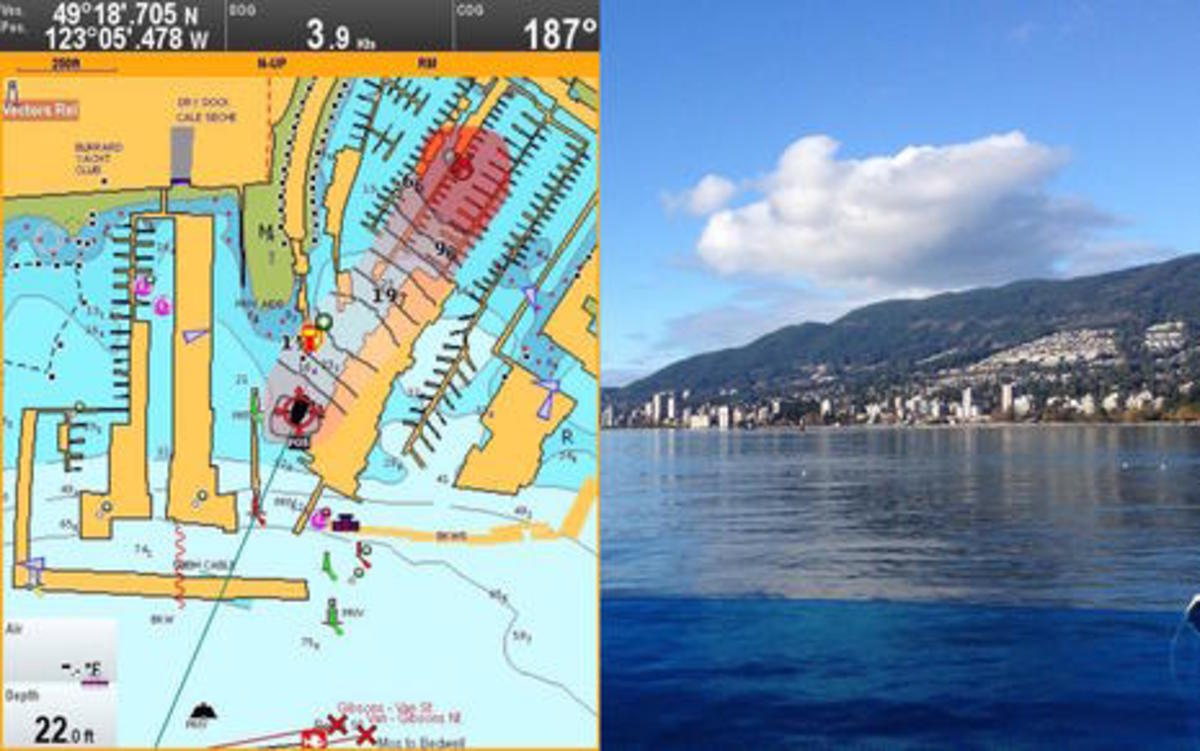 Raymarine Lighthouse r17 SonarChart Live Shallow Warning with Vancouver photo