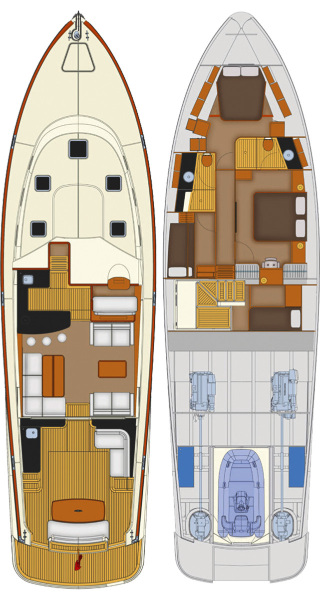 Palm Beach 65 Flybridge layout diagram