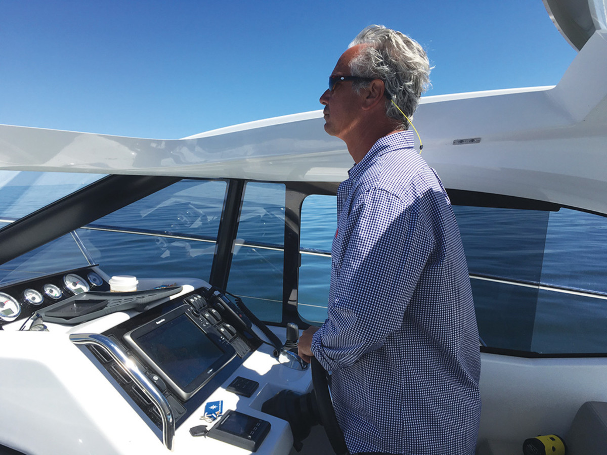 General Manager, Gary DeSanctis driving the Jeanneau Leader 36
