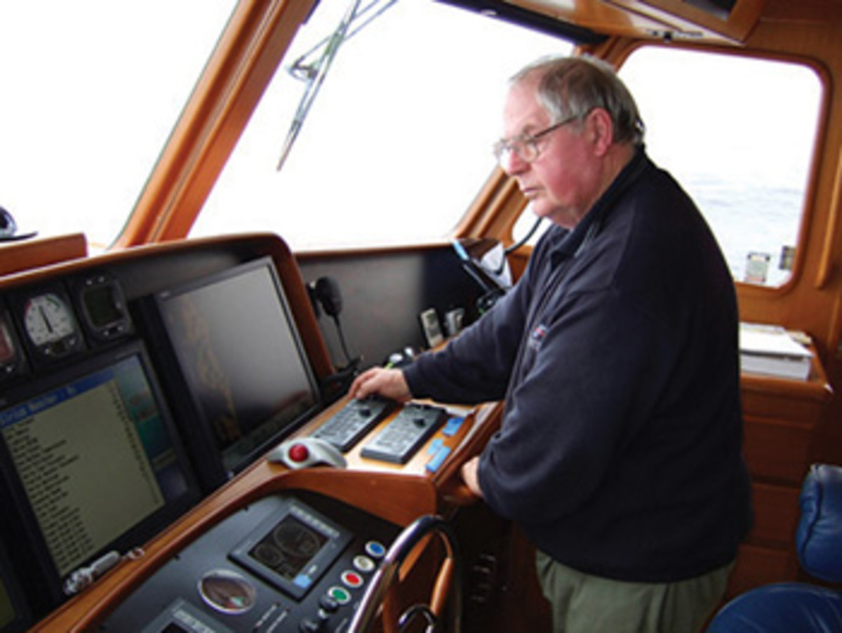 Tony Fleming uses the Furuno NavNet VX2 system prior to a series of upgrades.