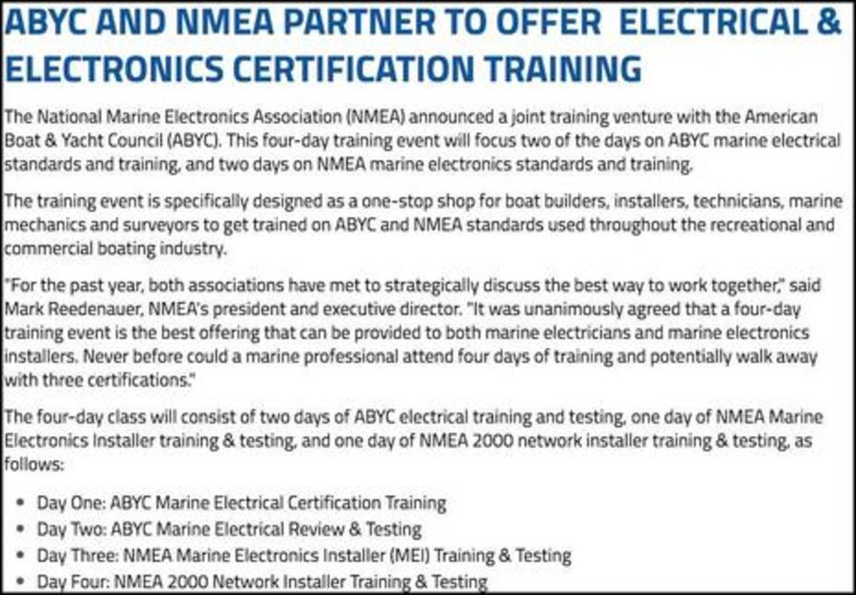 ABYC NMEA Partner for joint training