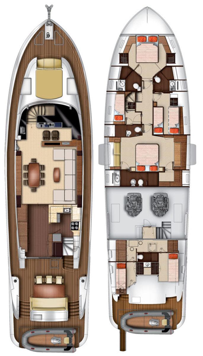 Azimut Magellano 76 layout diagrams