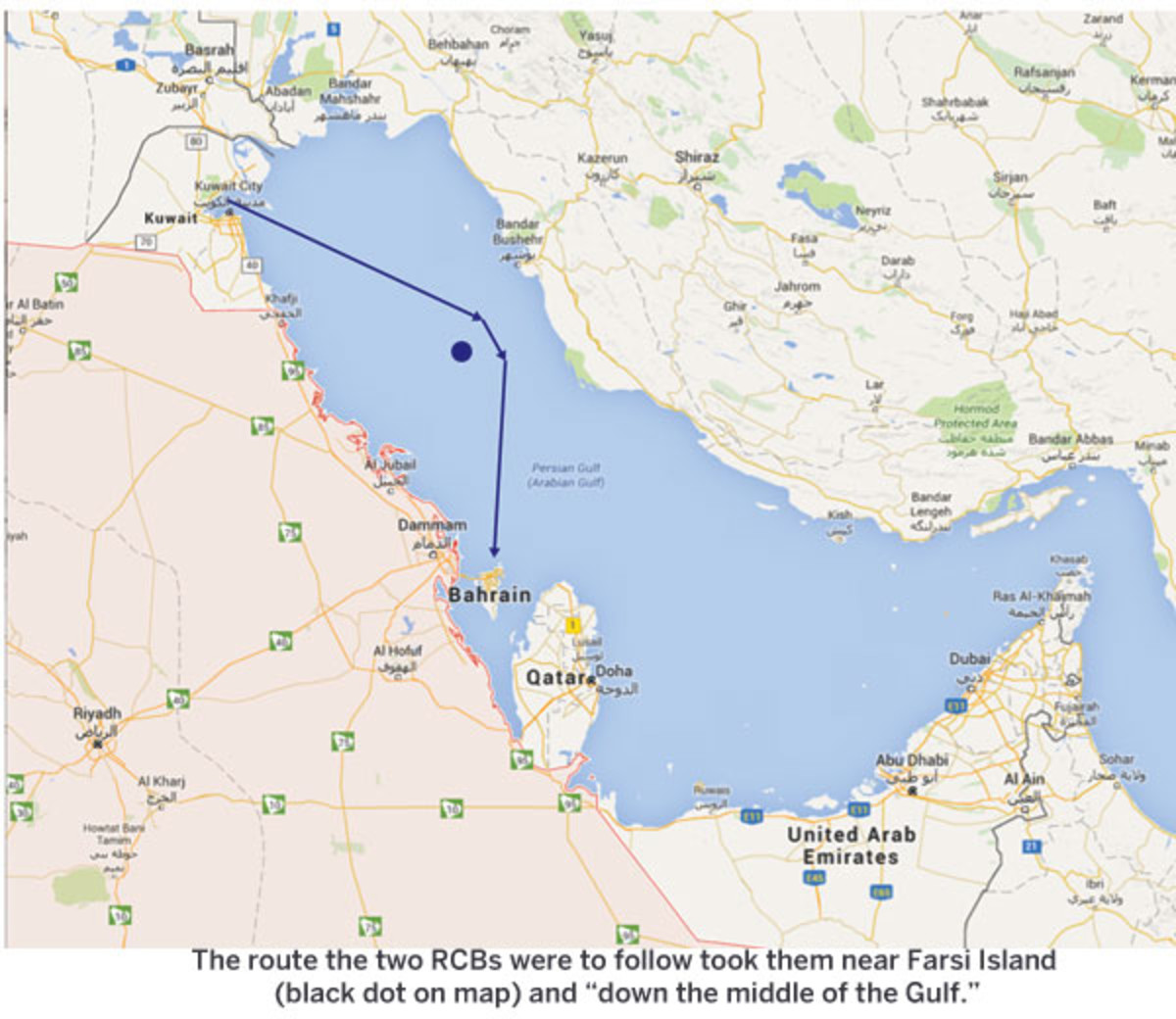 "The route the two RCBs were to follow took them near Farsi Island (black dot on map) and ""down the middle of the Gulf."""