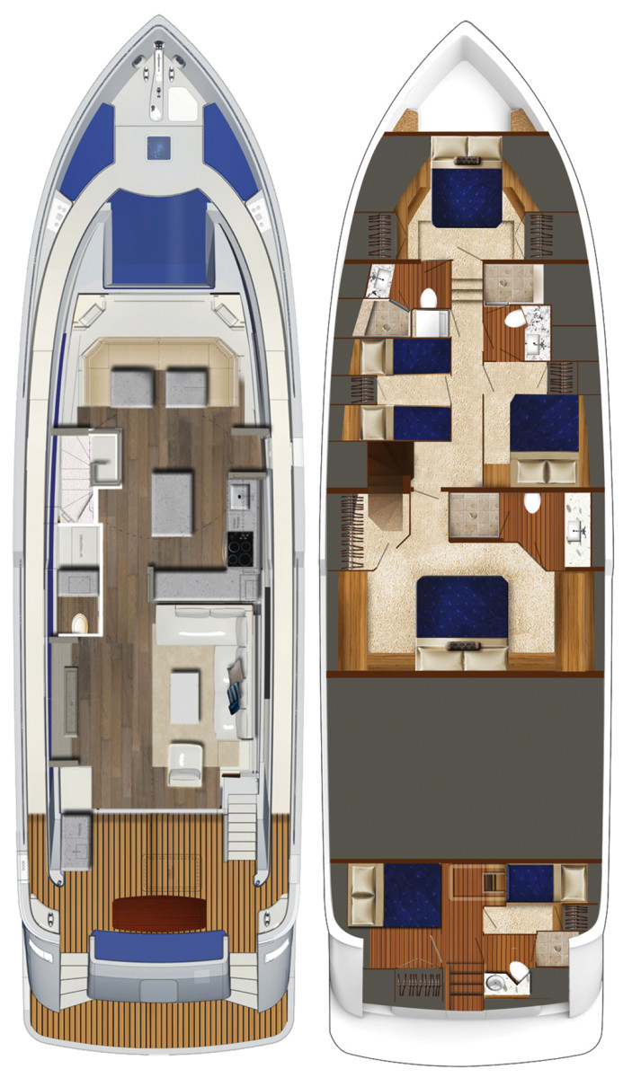 Hatteras 70 Motor Yacht layout diagram