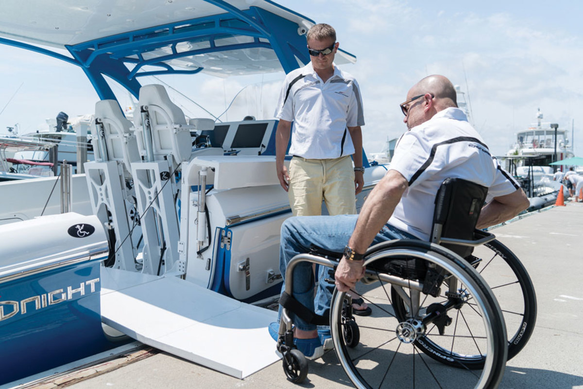 The hullside door of Bert's adapted 39 is large enough for him to roll his wheel chair aboard. Then he needs only climb into the helm seat and off he goes at 60-plus knots!