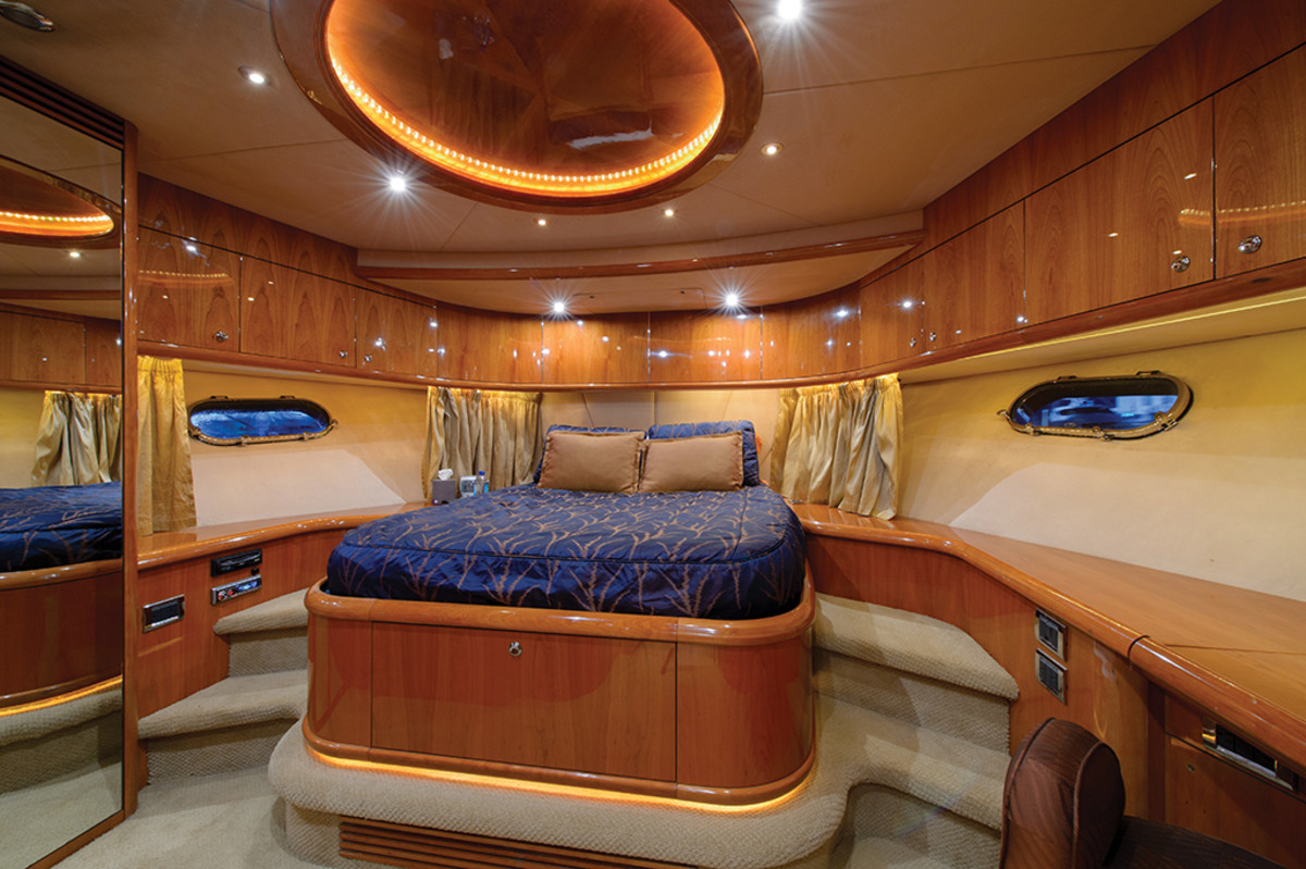 Forward stateroom on the Sunseeker 95 Predator