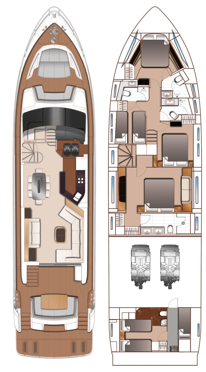 Princess 75 Motor Yacht layout diagrams