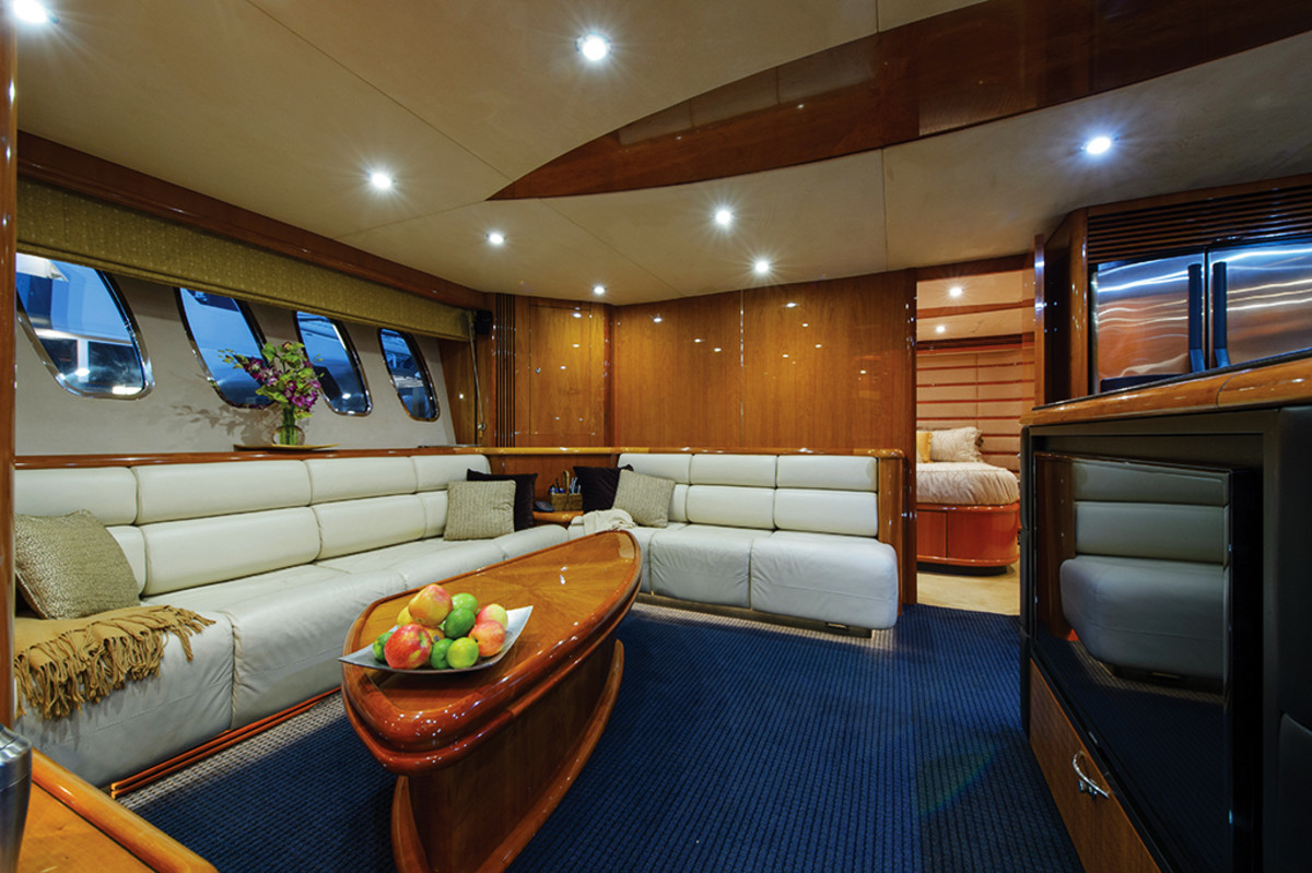 Lower salon on the Sunseeker 95 Predator