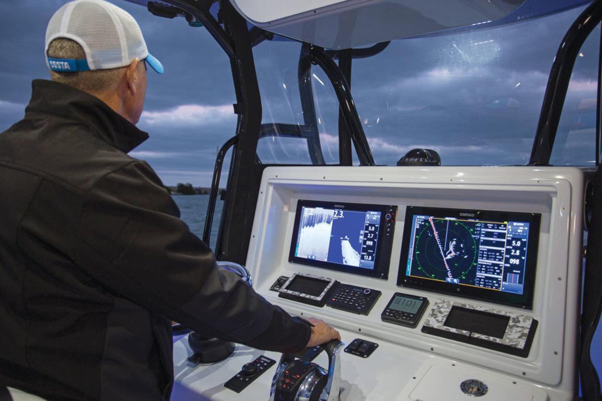 Helm on fishing boat