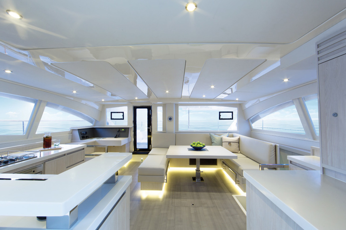 The saloon on the Moorings 514PC