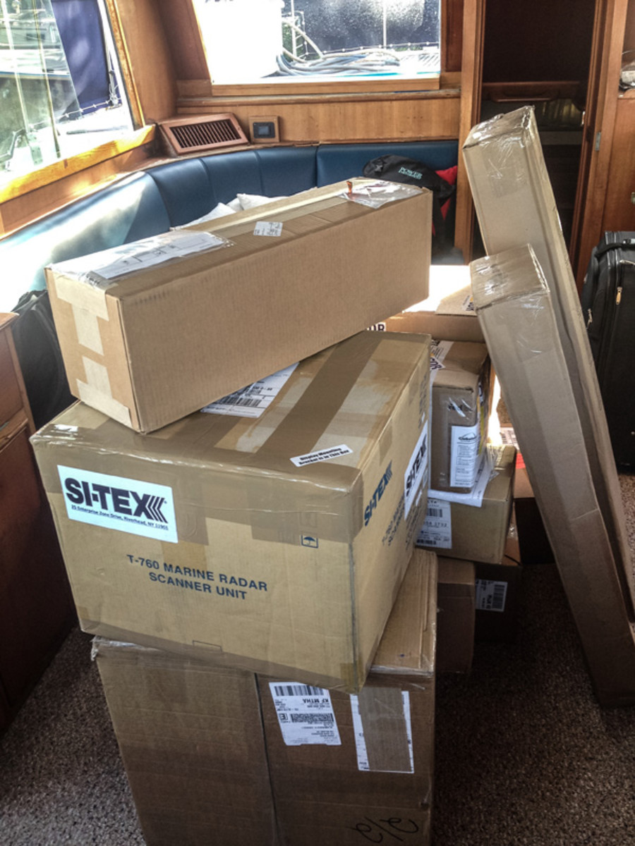 Boxes of marine gear