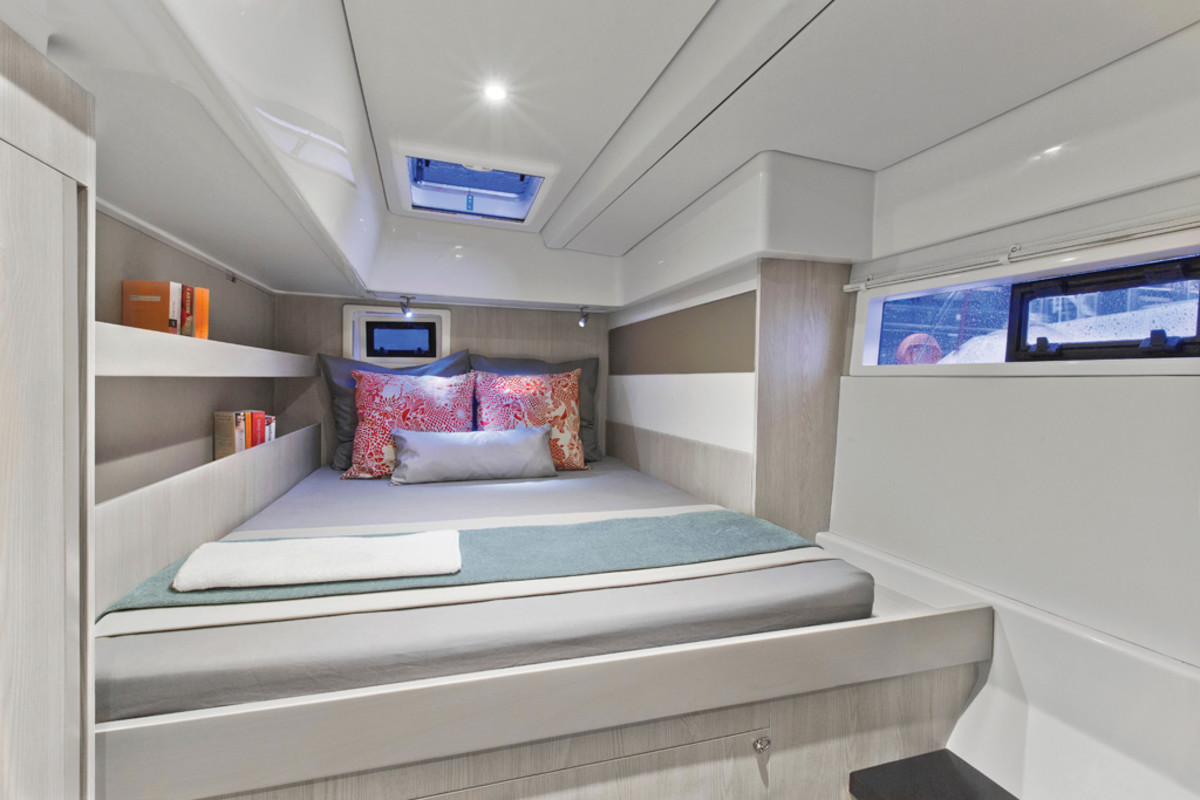 The aft stateroom on the Moorings 514PC