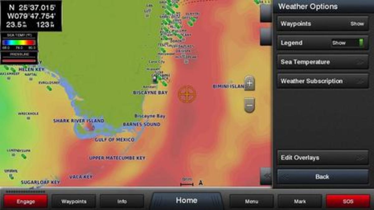 Garmin Sea Temperature Overlay Screenshot