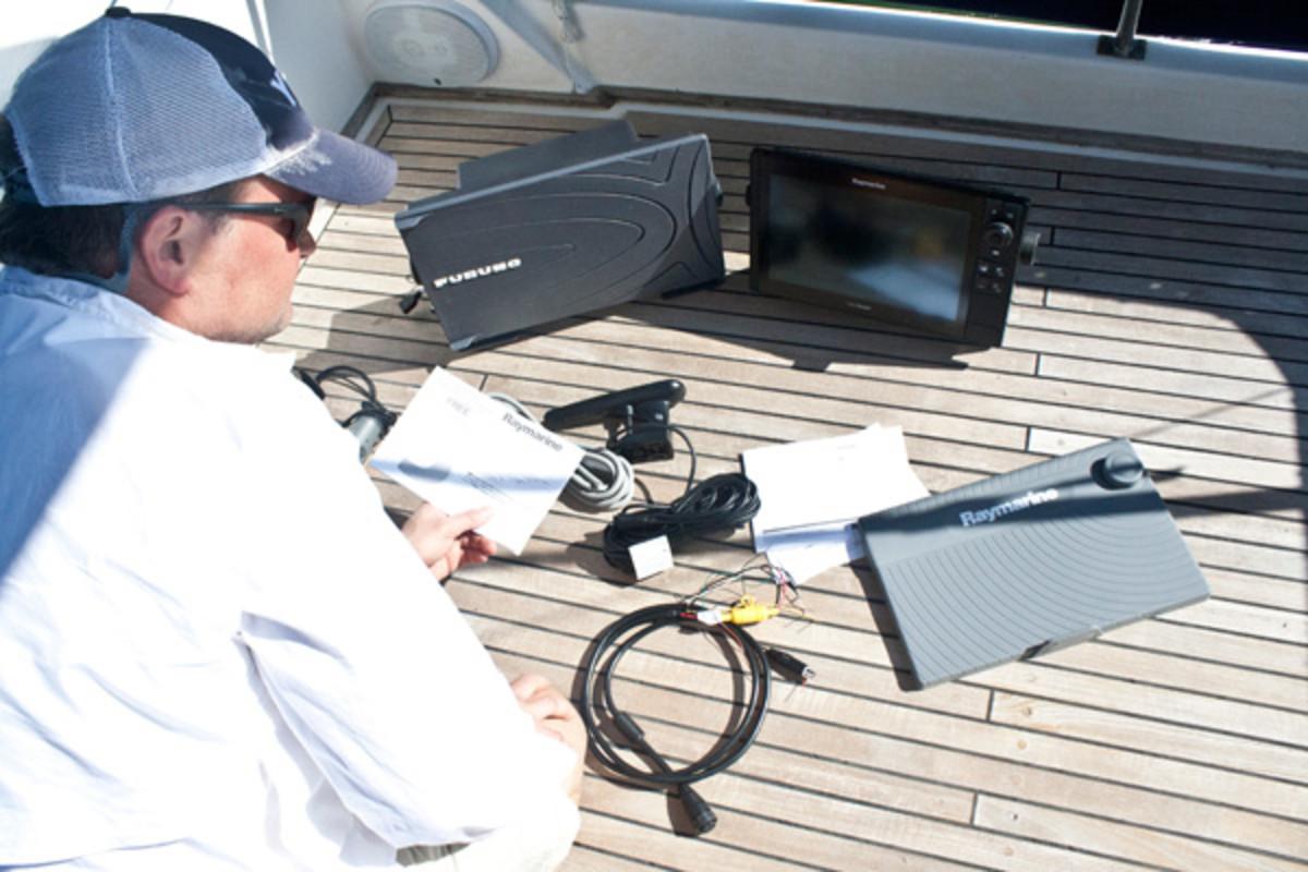 Jason Y. Wood testing Raymarine electronics