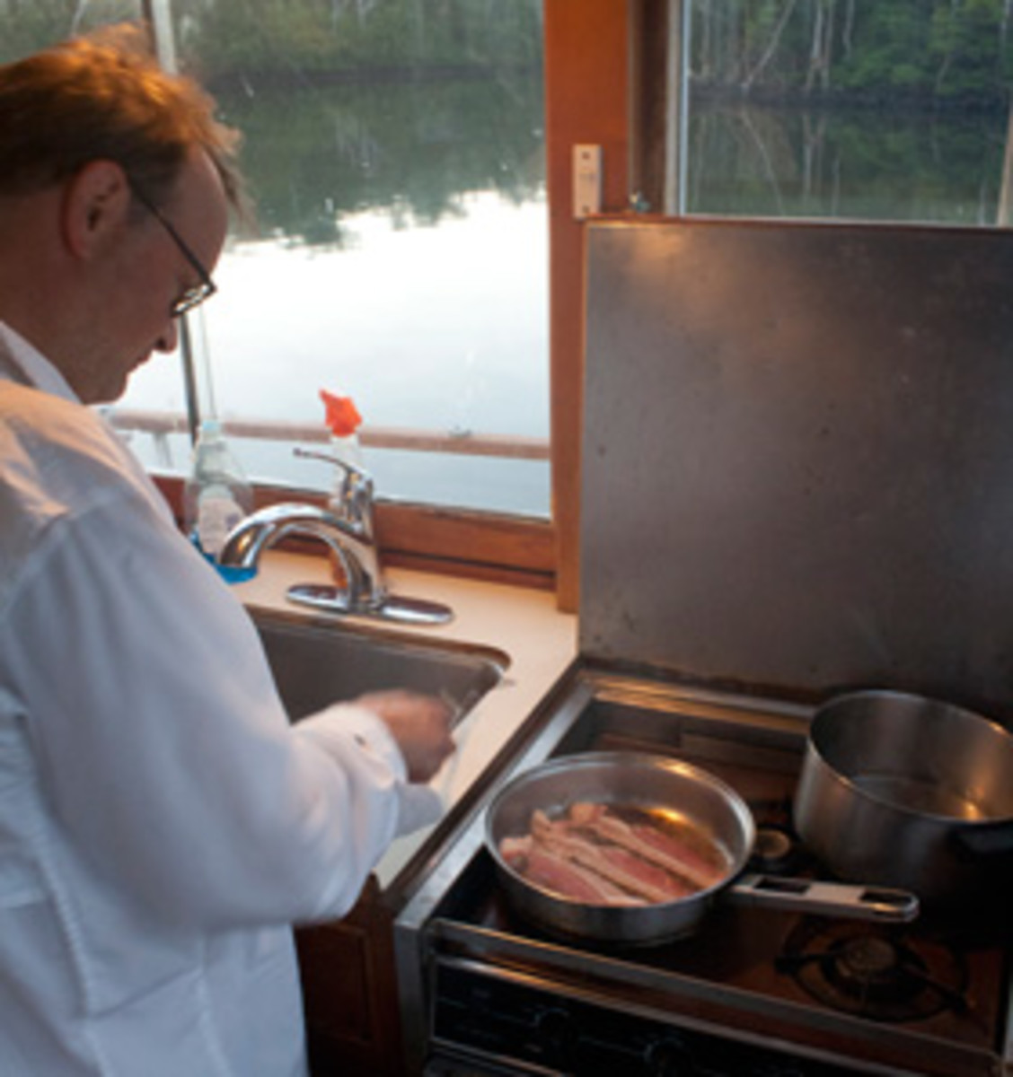 Jason Y. Wood cooking bacon