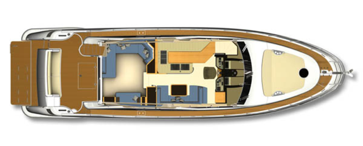Azimut 60 layout diagram - salon and galley
