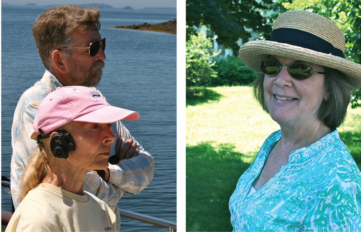 Left, Joan Kessler and the author peering pensively at a possible anchorage. Right, the author's wife BJ Vickers not feeling pensive in the least.