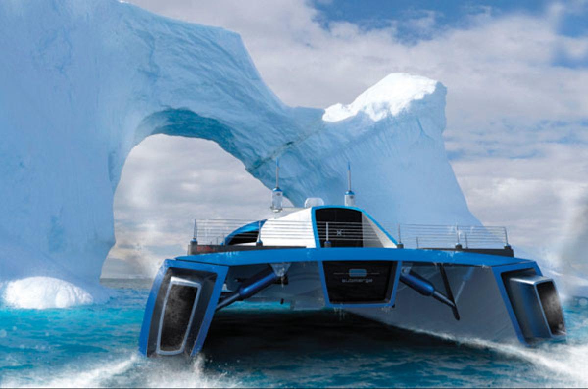 A submersible catamaran