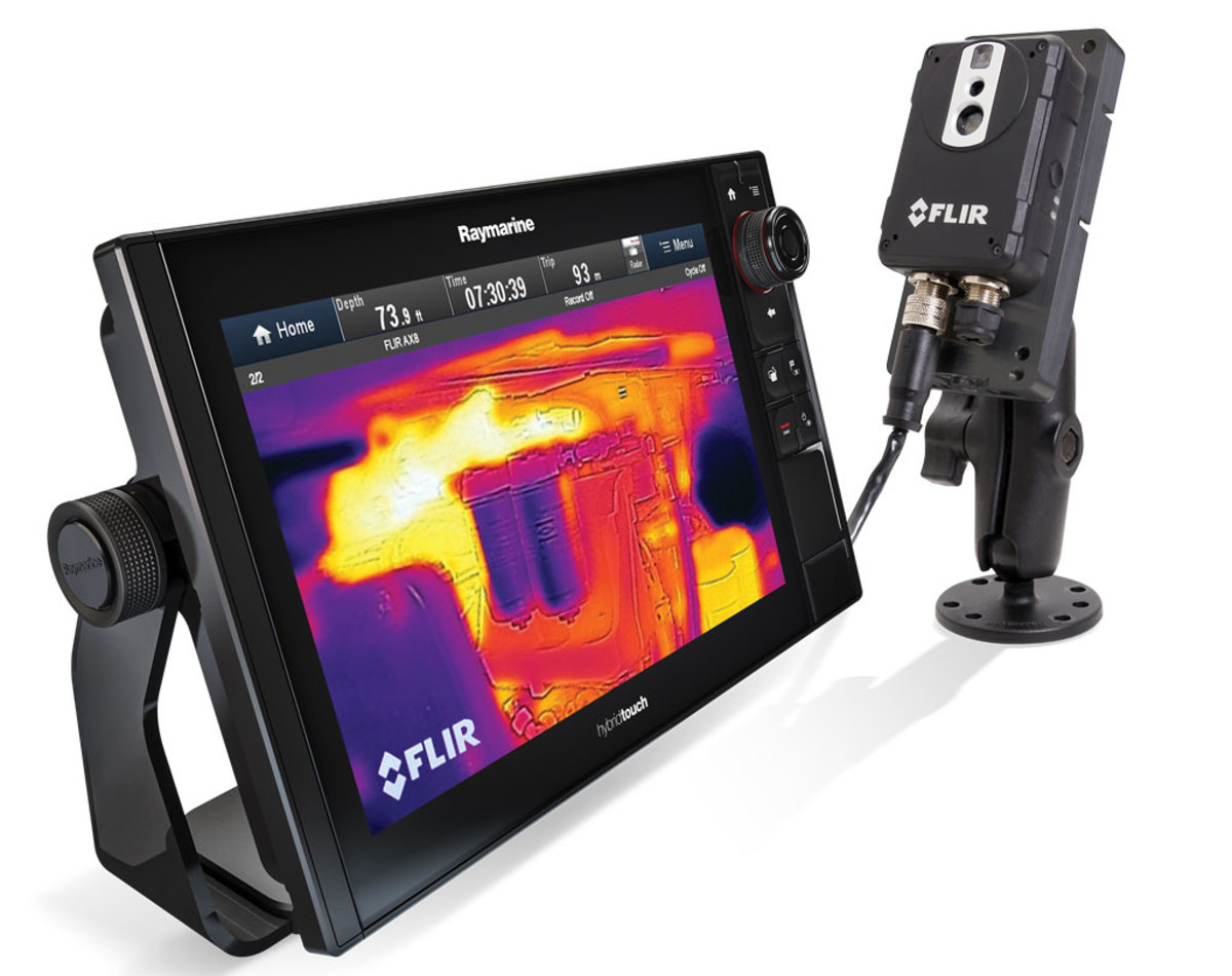 Teamed  with a Raymarine eS128 MFD, FLIR's Ax8, a thermal/visual camera, provides continuous monitoring and alarming.