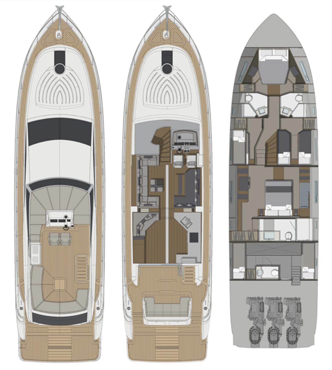 Pearl 65 motoryacht - layout diagram